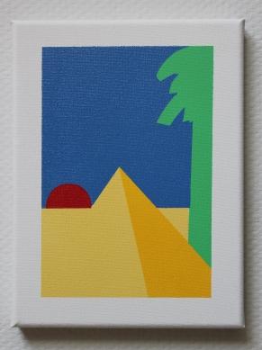 Butterscotch pyramid, Northsea water sky, firetorch sun and a green bagel not a tree