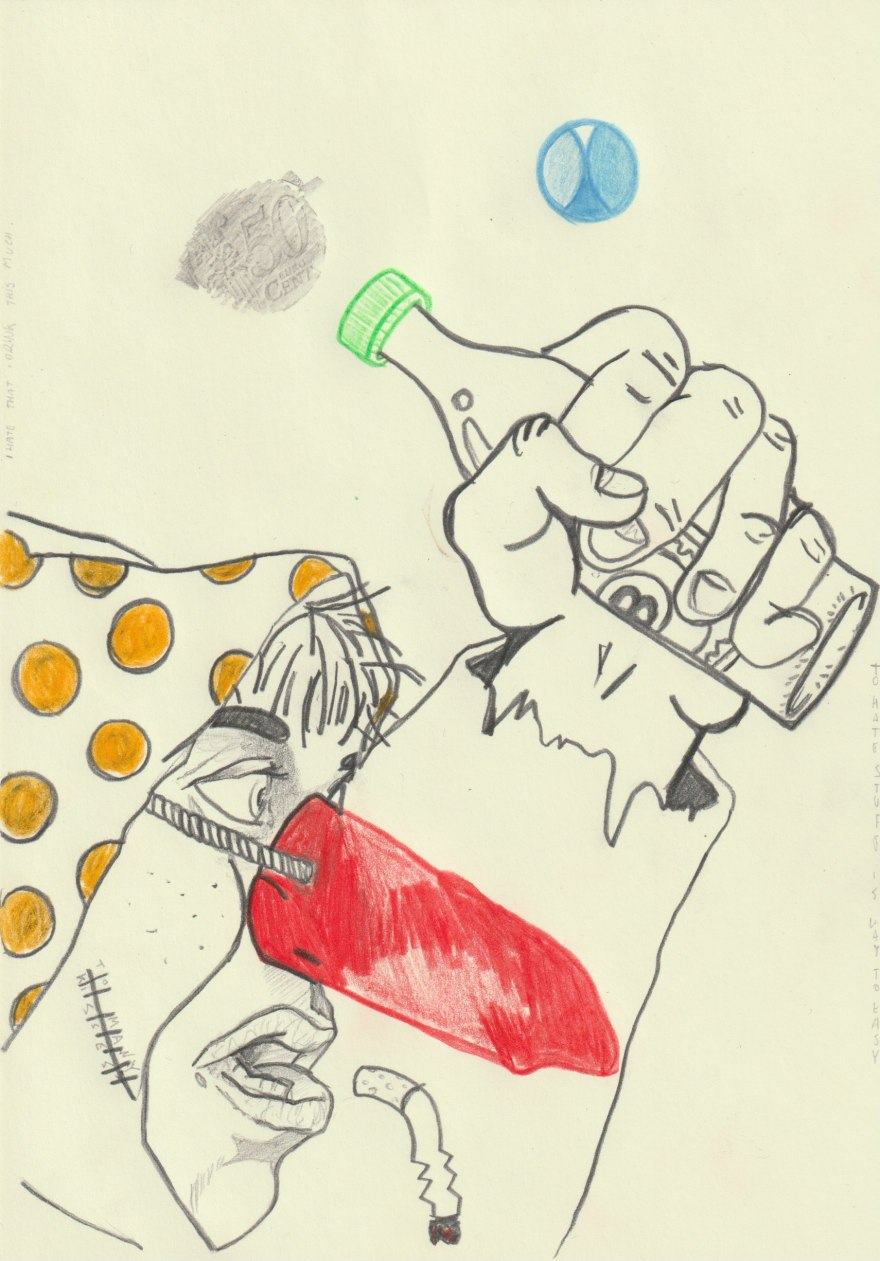 Red nose binge drinker gamblin away the last dimes.