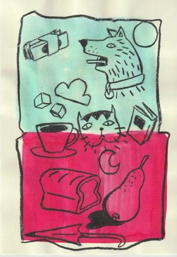 dinero's/dog/sun/cloud/sugar/cat/book/loaf/moon/pear/umbrella